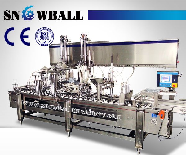 linear ice cream filling machine,cornetto filling machine, www.snowballmachinery.com